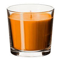 СИНЛИГ Ароматическая свеча в стакане, Персик и апельсин, оранжевый