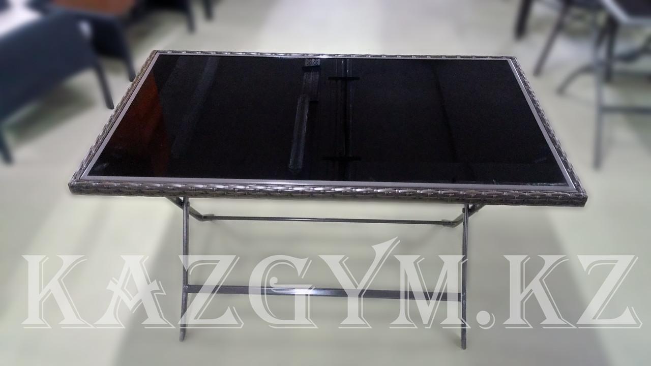 Стол складной стеклянный с элементами ротанги