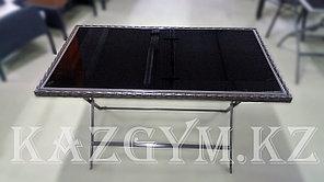 Стол складной металлический со стеклом