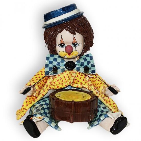 Статуэтка Клоун-барабанщик. Керамика, ручная работа, Италия