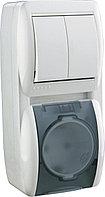 Выключатель 2-х кл. и розетка с/з, с крышкой  вертикаль