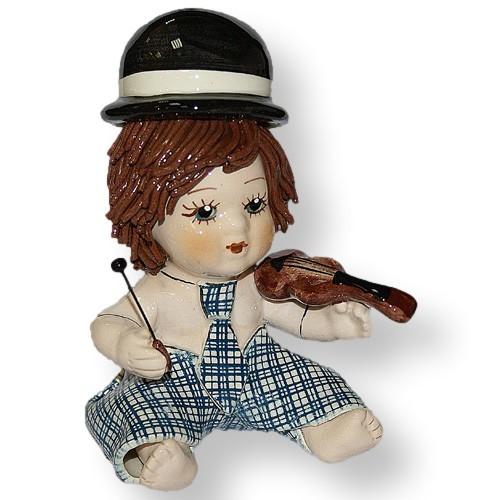 Статуэтка Мальчик скрипач. Керамика, Италия, ручная работа