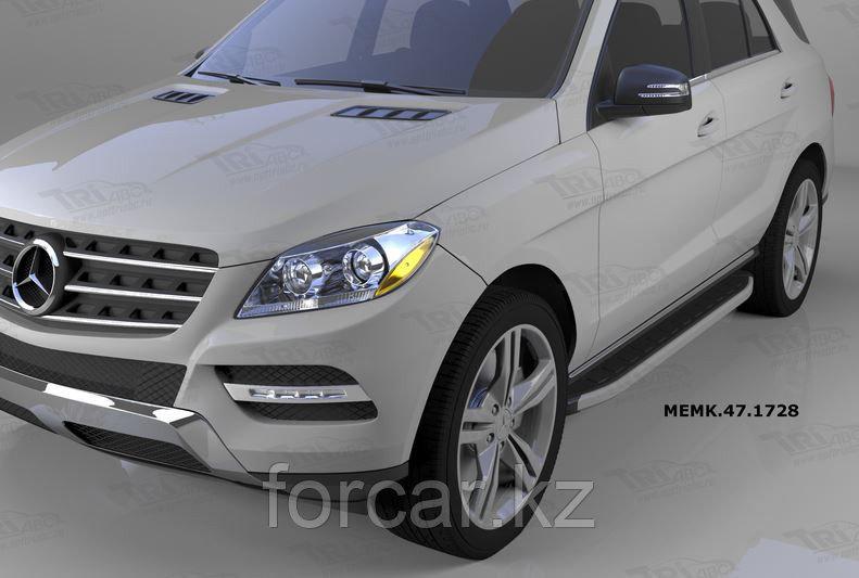 Пороги алюминиевые (Alyans) Mercedes ML W166 (2011-)