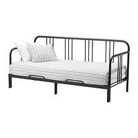 Кровать кушетка ФИРЕСДАЛЬ черный с 2 матрасами Мосхульт жесткий ИКЕА, IKEA, фото 1