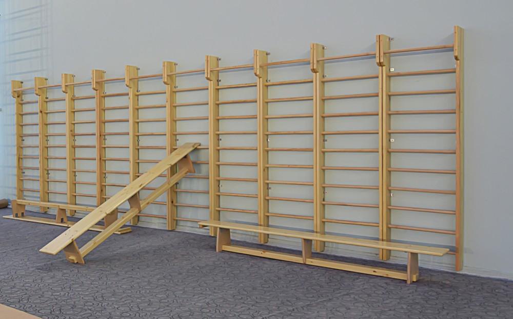 Гимнастическая стенка  деревянная с турником 320*100см