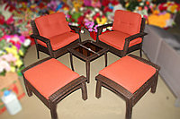Набор мебели, стол + 2 кресла + 2 пуфа