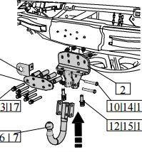 Фаркоп TOYOTA Land Cruiser 200 2007- г.в., 3094-A, Bosal, 3500/140кг