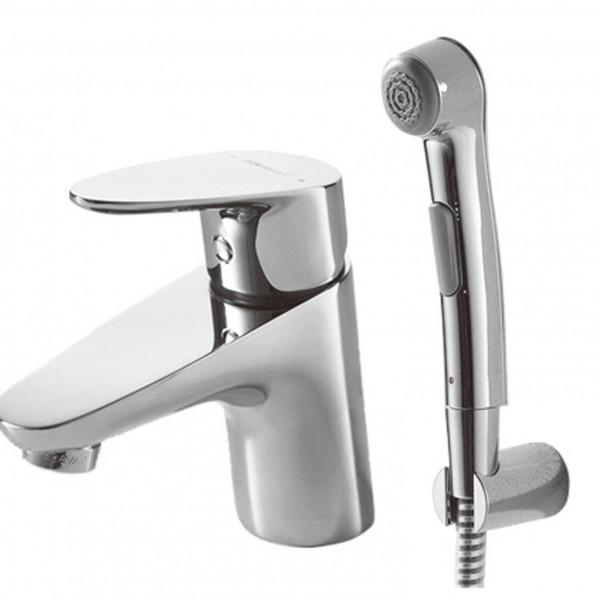 Смеситель для умывальника с гигиенический душ Bravat Drop F14898C-2