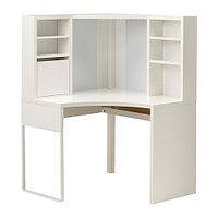 Стол рабочий МИККЕ угловой белый ИКЕА, IKEA