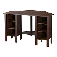 Стол письменный угловой БРУСАЛИ коричневый , ИКЕА, IKEA, фото 1
