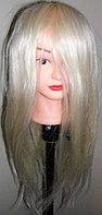 Учебная голова болванка, натуральные 80% волосы блонд