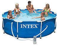 Бассейн каркасный 305х76 см, V-4485л, Intex Metal Frame Pool 28202 фильтр в комплекте, фото 1