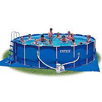 Бассейн каркасный 457х122 см, V-16800л, Intex Metal Frame Pool 28236 фильтр, лестница в комплекте, фото 1