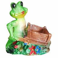 Фигурка садовая декоративная «Лягушка с телегой»