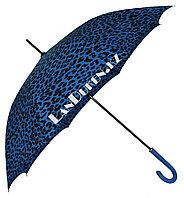 Женский Зонт трость Леопардовый (синий)