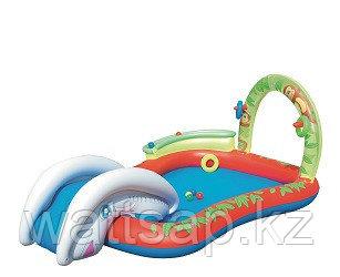 Бассейн надувной с горкой 279х173х102 см, V-250л, Bestway 53051