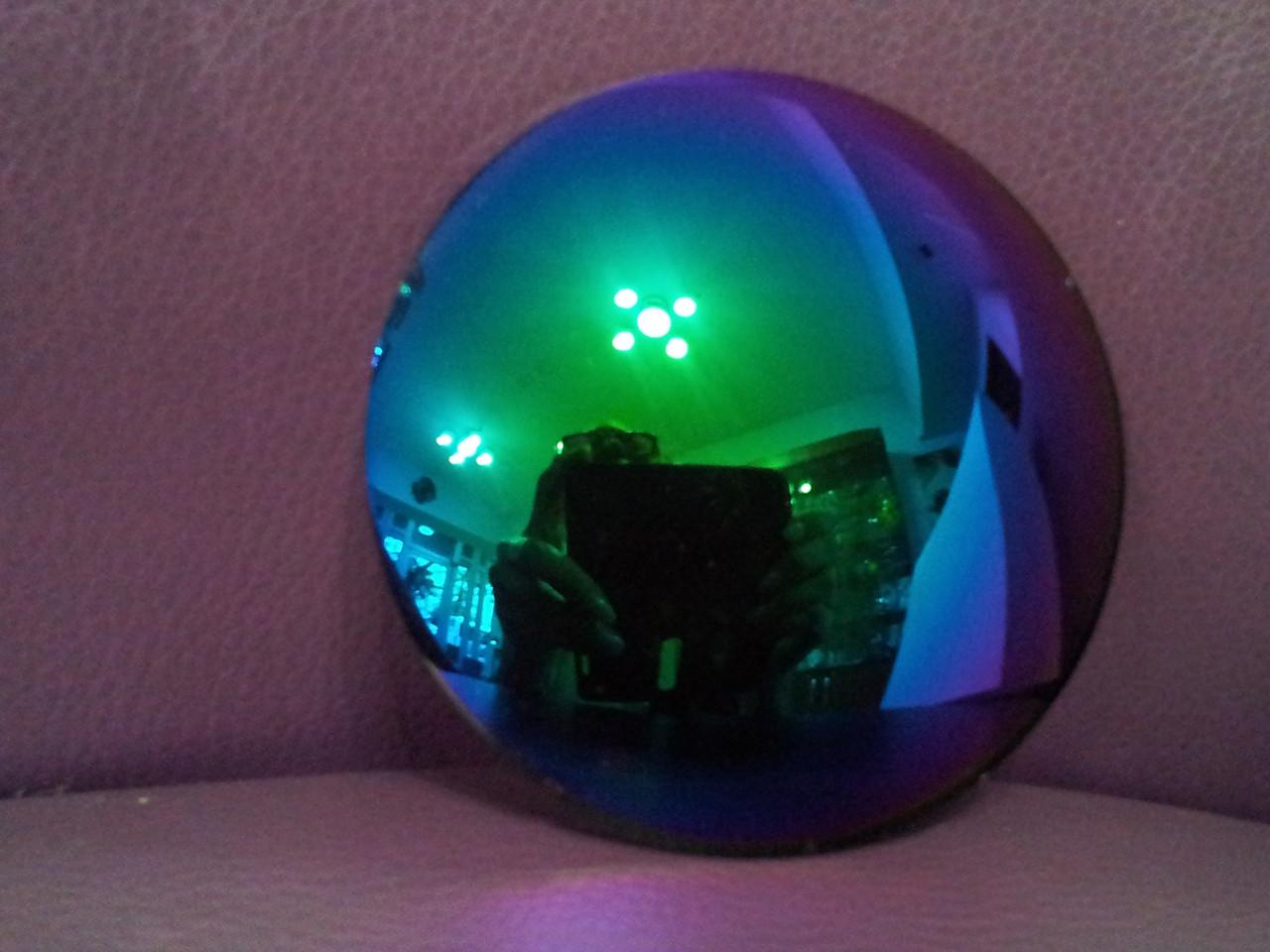 Линза полимерная синяя с зеркальным покрытием - фото 1