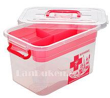 """Аптечка для лекарств 6,5 л """"Домашний Доктор"""" с вкладышем (контейнер для аптечки красный)"""