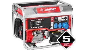 Генератор ЗУБР бензиновый, 4-х тактный, ручной и электрический пуск, автоматический пуск, 6200/5700Вт, 220/12В