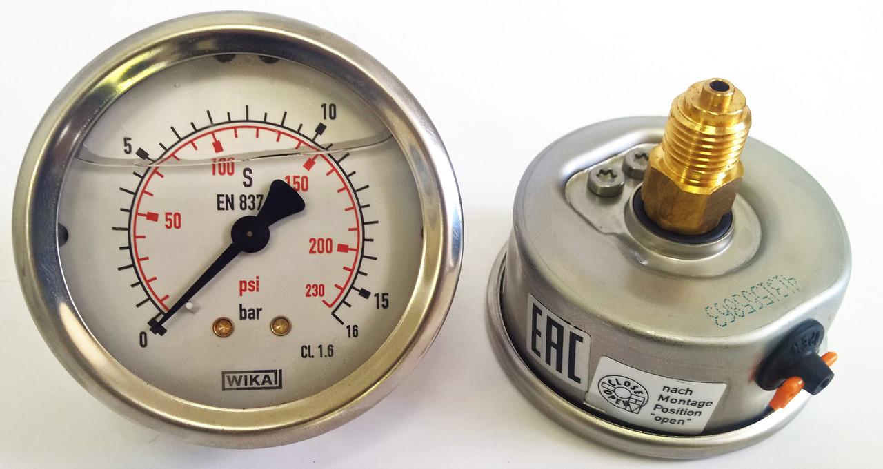 Манометр с трубкой Бурдона 213.53.063 0-16 bar / 0-230 Psi  G1/4B, с гидрозаполнением, WIKA