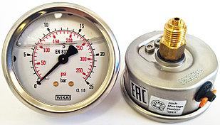 Манометр с трубкой Бурдона 213.53.063 0-25 bar / 0-350 Psi  G1/4B, с гидрозаполнением, WIKA