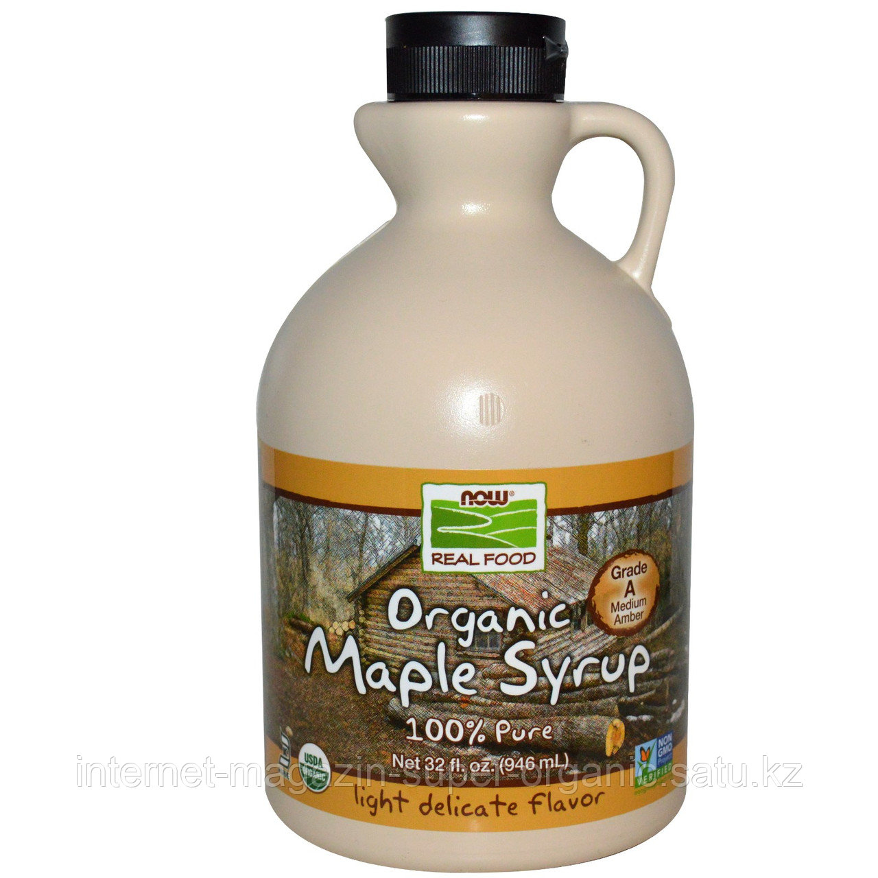 Кленовый сироп органический, класс А, средний янтарный, 946 мл. Now Foods, Real Food