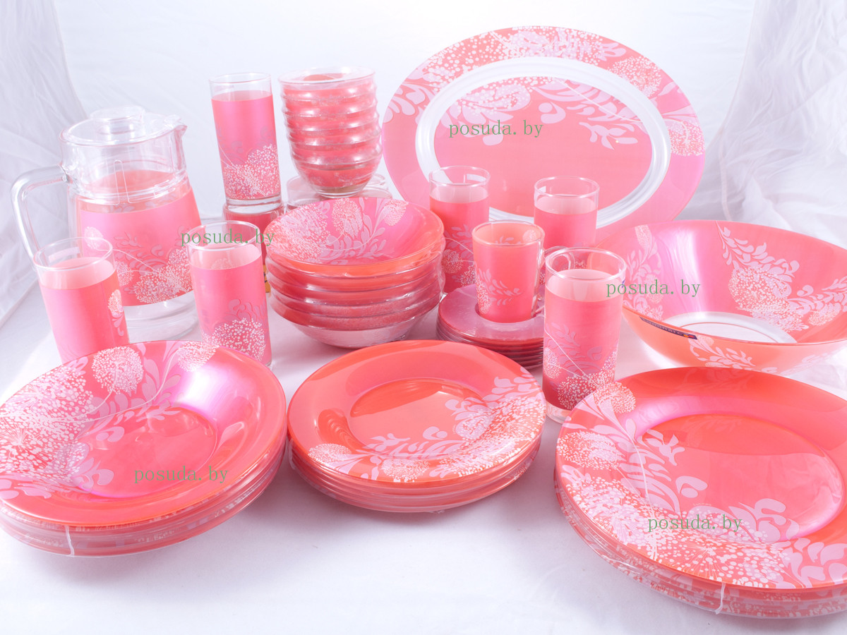 Столовый сервиз Luminarc Piume Pink 45 предметов на 6 персон