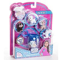 Игрушка Puppy in my pocket брелок-сумочка голубая с 5ю флок. щенками