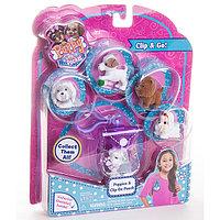 Игрушка Puppy in my pocket брелок-сумочка фиолетовая с 5ю флок. щенками