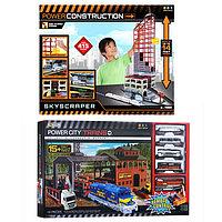 Игрушка ж/д Powertrains Набор Лесопогрузчик на р/у + Power Construction Небоскреб, паркинг, ж/д станция