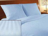 Белье постельное, однотонное, голубого цвета, для гостиниц