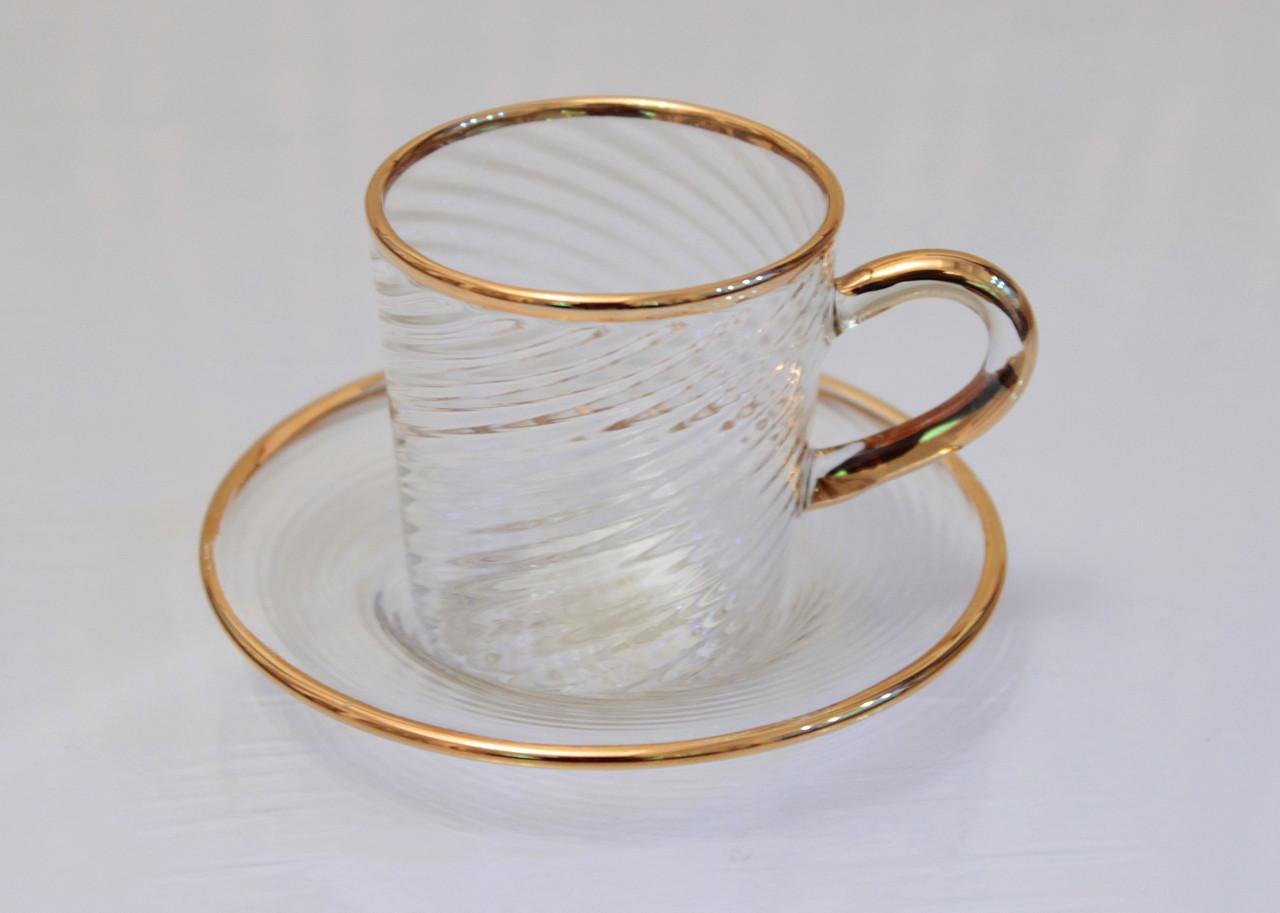 Сувенир Чашка с блюдцем. Венецианское стекло. Италия. Ручная работа