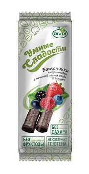 Батончики амарантовые «УМНЫЕ СЛАДОСТИ» с начинкой лесная ягода , в глазури, витаминизированные,безглютена 20 г