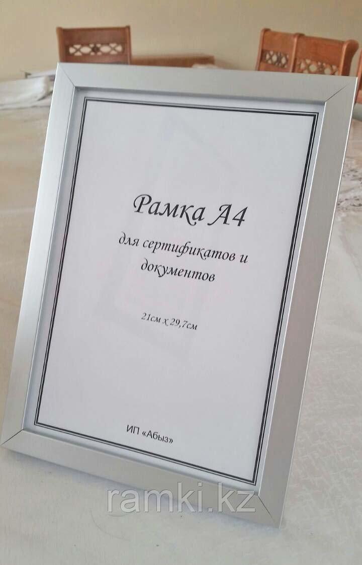 Рамка со стеклом А4 серая под алюминий