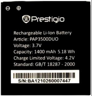 Заводской аккумулятор для Prestigio MultiPhone Duo (PAP3500 DUO, 1400mah)