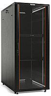 Hyperline TTC2-2266-AS-RAL9004 Шкаф напольный 19-дюймовый, 22U, 1166x600x600 мм (ВхШхГ), передняя стеклянная дверь со стальными перфорированными