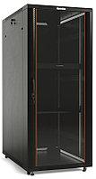 Hyperline TTC2-4266-AS-RAL9004 Шкаф напольный 19-дюймовый, 42U, 2055x600x600 мм (ВхШхГ), передняя стеклянная дверь со стальными перфорированными