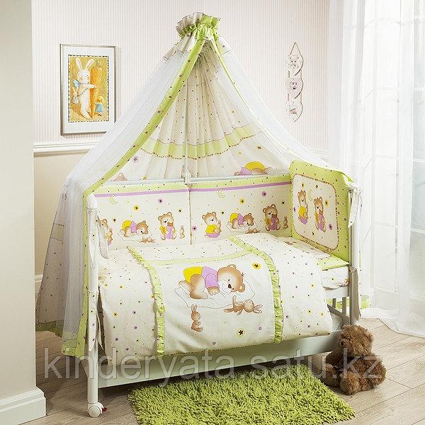 Детский постельный комплект 7 предметов «Ника» Мишка на подушке салатовый