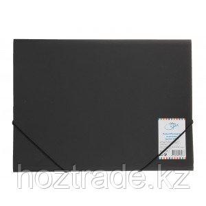 Папка пластиковая OfficeSpace, на резинке, А4, черная