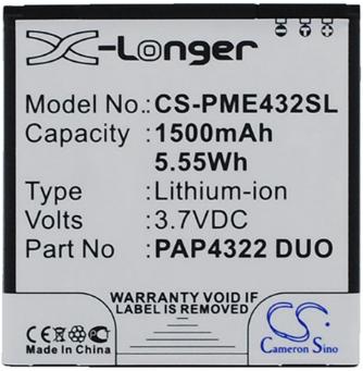 Заводской аккумулятор для Prestigio MultiPhone 4322 DUO (PAP4322 Duo, 1500mah)