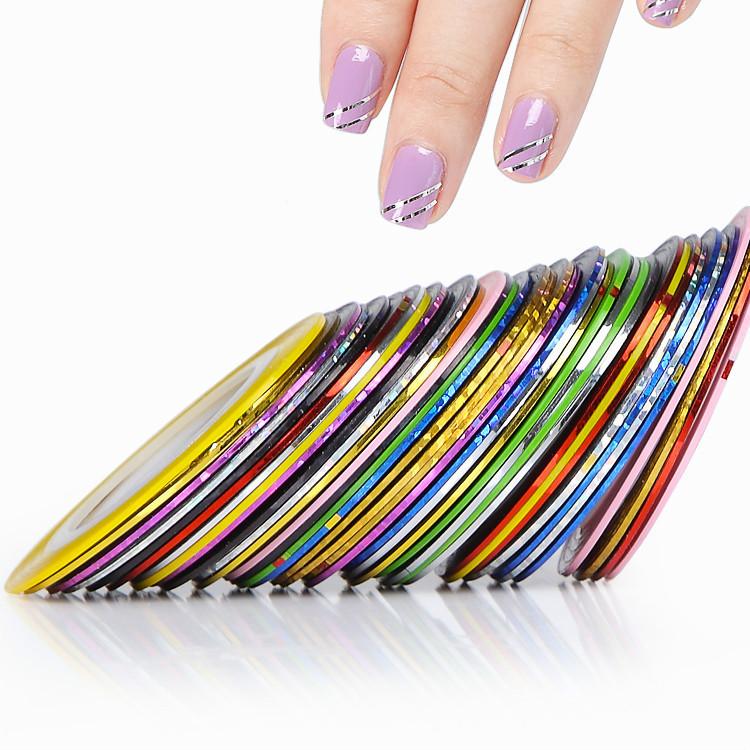 Декоративная самоклеющаяся нить-скотч для дизайна ногтей розовая (лента для ногтей) - фото 3