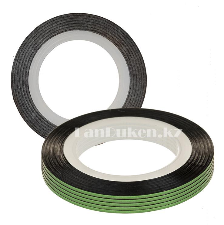 Декоративная самоклеющаяся нить-скотч для дизайна ногтей зеленая (лента для ногтей) - фото 1