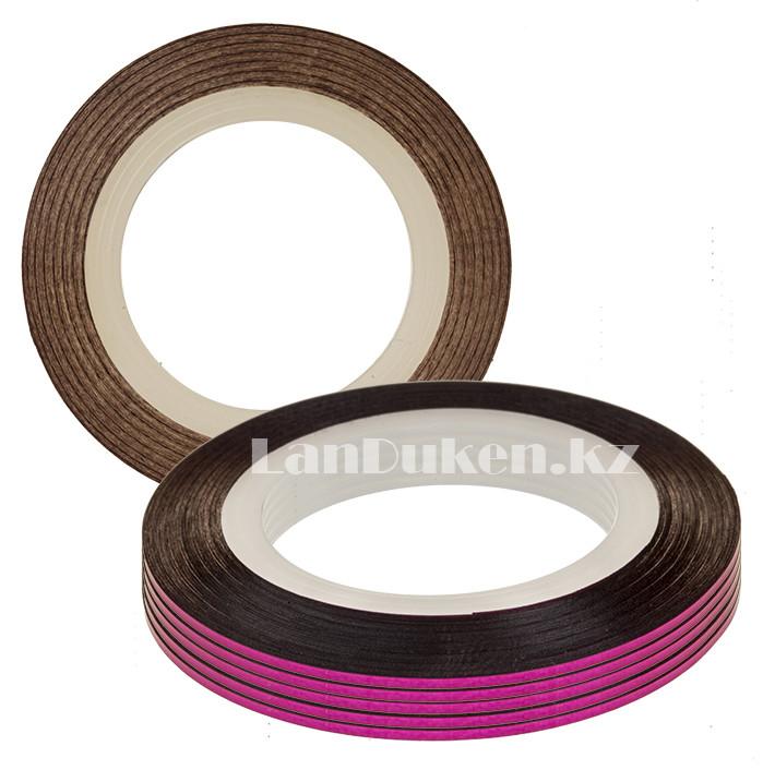 Декоративная самоклеющаяся нить-скотч для дизайна ногтей розовая (лента для ногтей) - фото 1