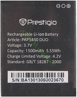 Заводской аккумулятор для Prestigio MultiPhone 5450 Duo (PAP5450 Duo, 1500mah)