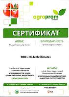 Благодарность за участие в 1-ой Южно-Казахстанской Международной Выставке Агропромышленный комплекс Индустрия гостеприимства