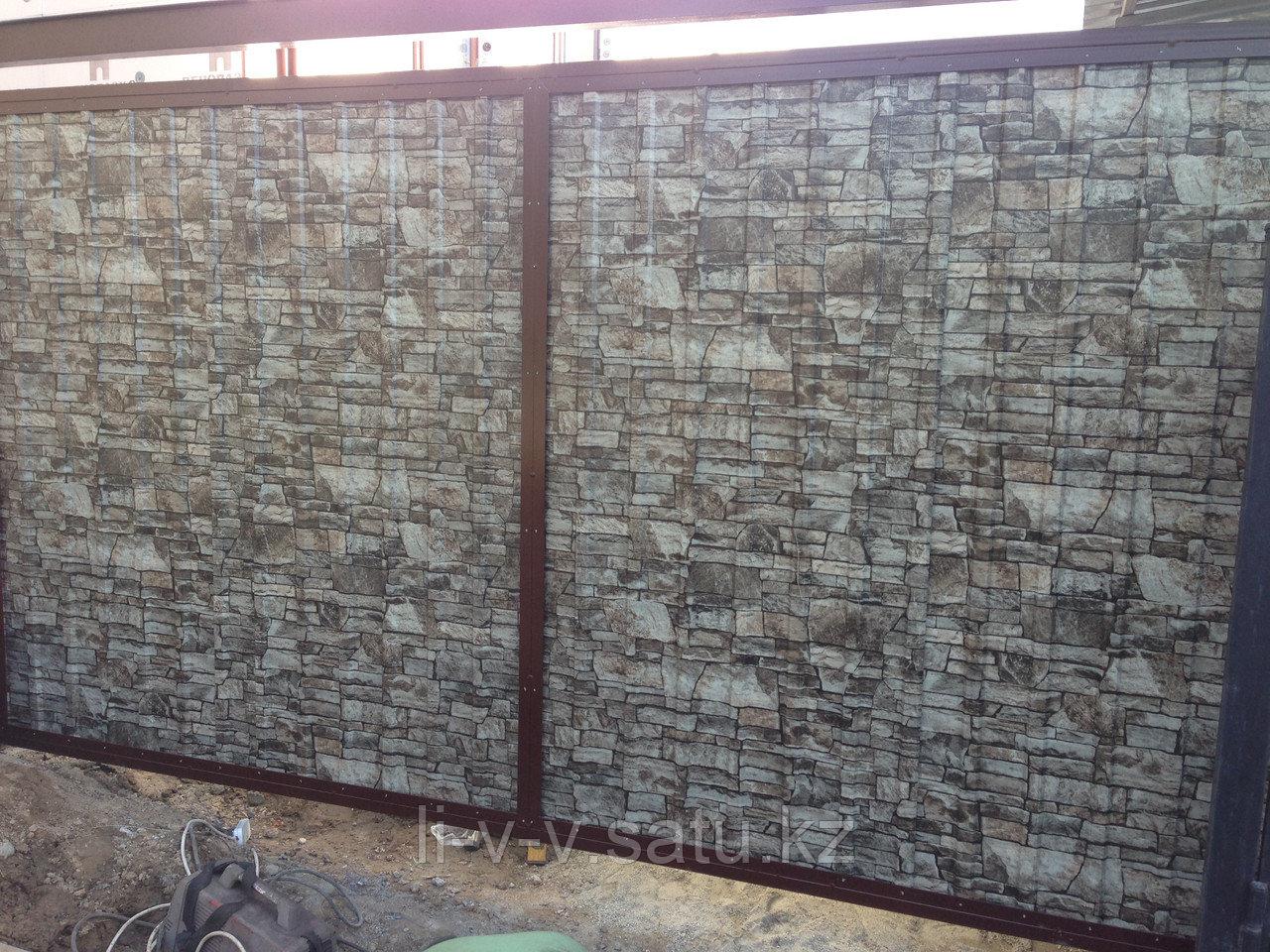 Металлические ворота c экраном из профлиста