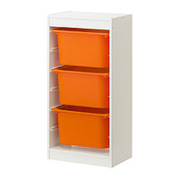 стеллаж для игрушек ТРУФАСТ белый/оранжевый ИКЕА, IKEA, фото 1