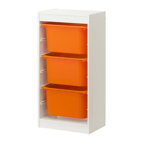 стеллаж для игрушек ТРУФАСТ белый/оранжевый ИКЕА, IKEA - фото 1