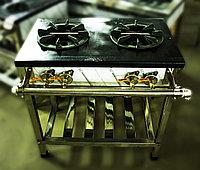 Газовая промышленная плита, 80х63х80 см, (2 конфорки, 2 круга пламени)