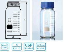 Бутыль для химреактивов с пластмассовой завинчивающейся крышкой d-80 мм, со шкалой (1000 мл) (Duran)